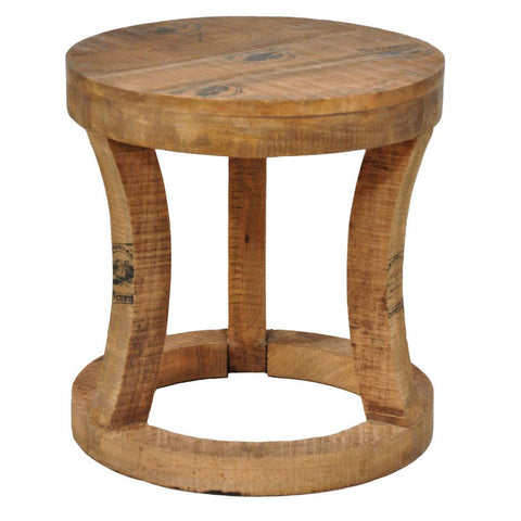 Distressed Wood Round Stool