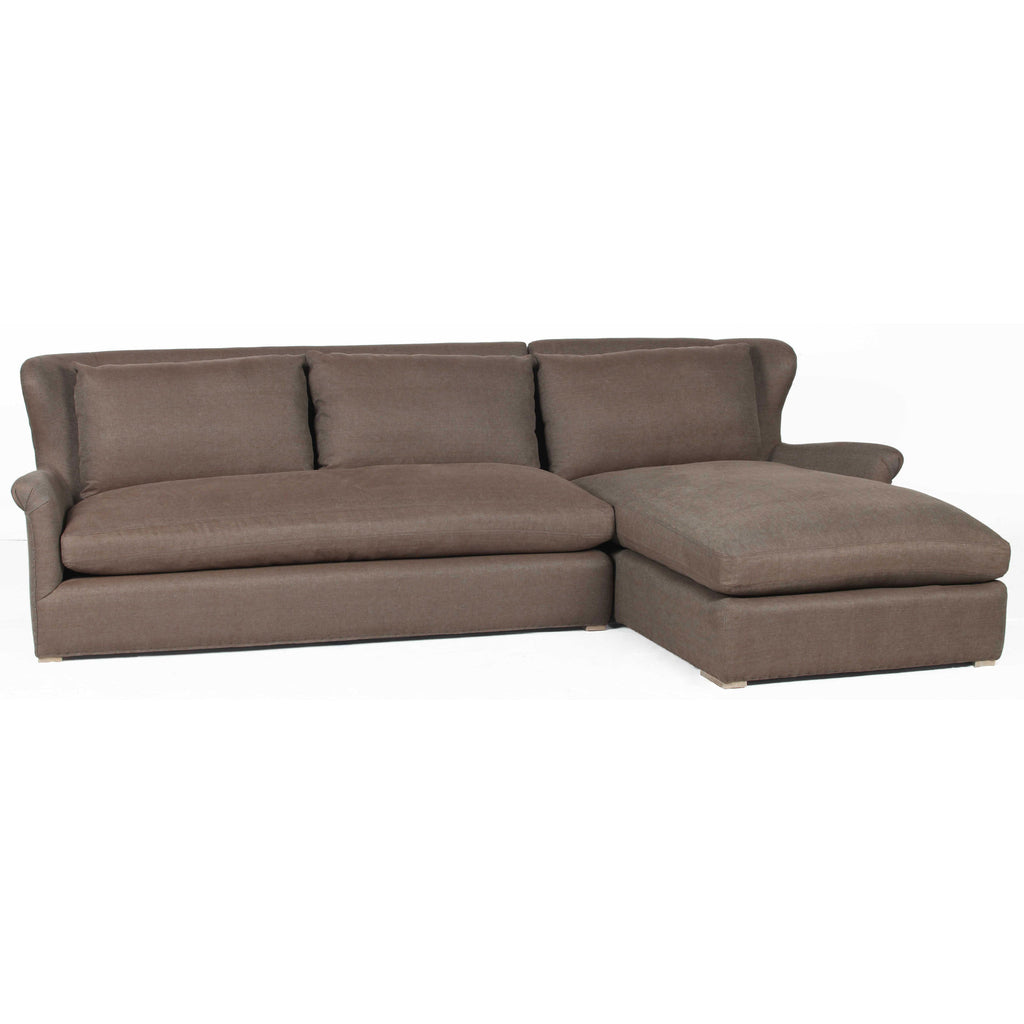 Elsy Brown Linen Fabric Right Arm Sofa with Chaise