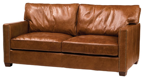 Leather Cigar Loveseat with Square Arms