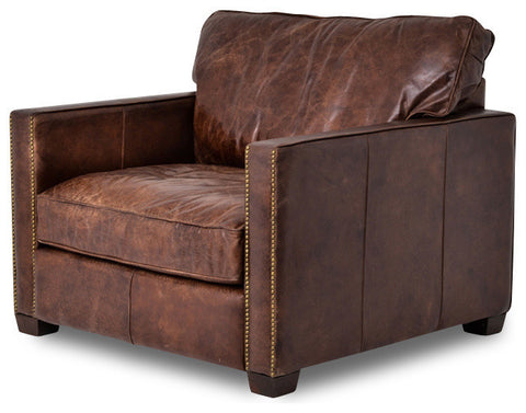 Top Grain Leather Club Chair with Nail Head Trim