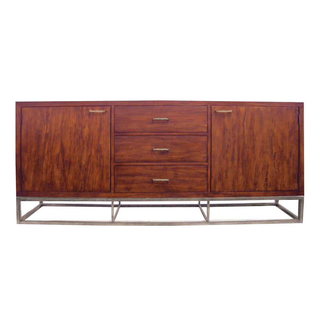 Iron and Rosewood Sideboard with Drawers and Doors