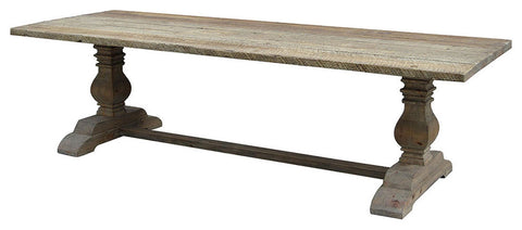 110-Inch Solid and Reclaimed Wood Trestle Dining Table