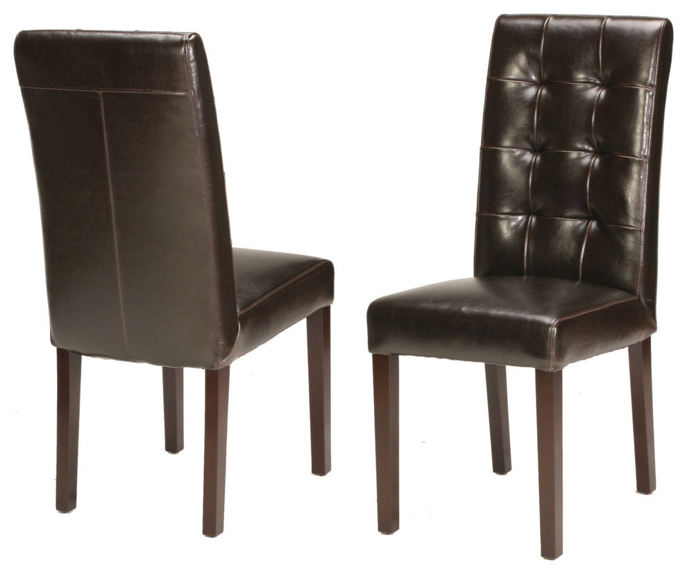 Genuine Leather Tufted Dining Chair