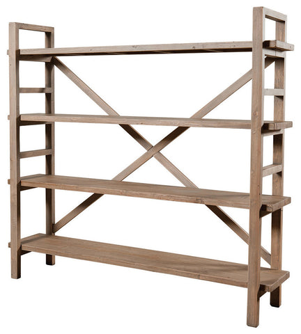 Solid Wood Bookcase with Four Shelves