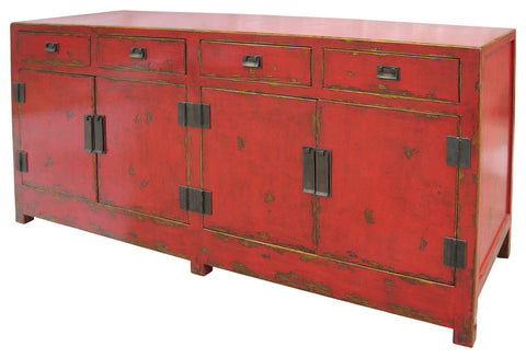 Asian Wood Sideboard with Four Drawers and Four Doors