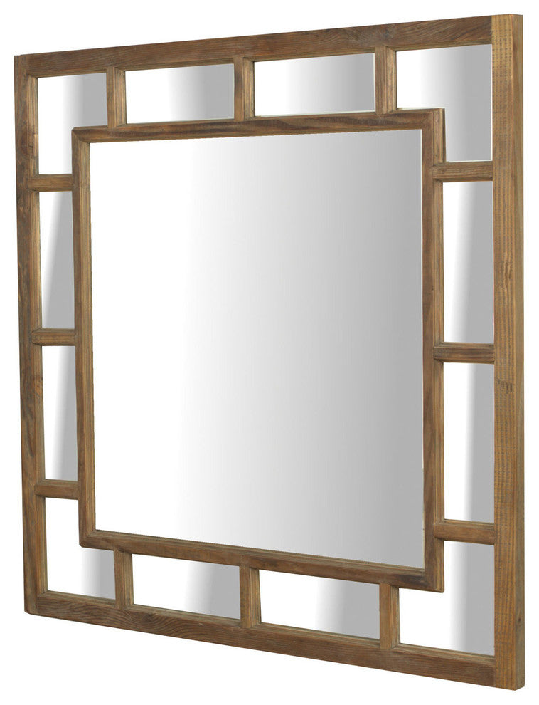 Sturdy Square Mirror With Bleached Pine Finish