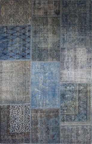 Exquisite Patchwork Rug 5'x8'-Indigo Blue
