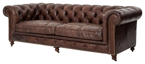 Elegant Brown Sofa with Finest Top-Grain