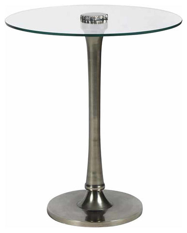 Glass Top-ant Nickel Side Table