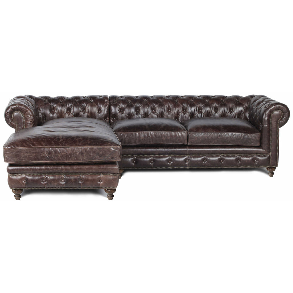 Flint Distressed Cigar Leather Sofa with Left Arm Chaise