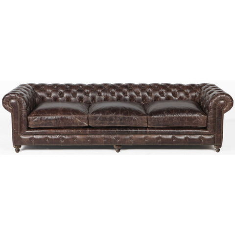 Flint Leather Sofa 118 inches