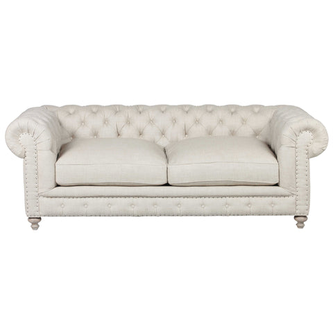 Flint Upholstered Beige Linen Fabric Sofa in 90""