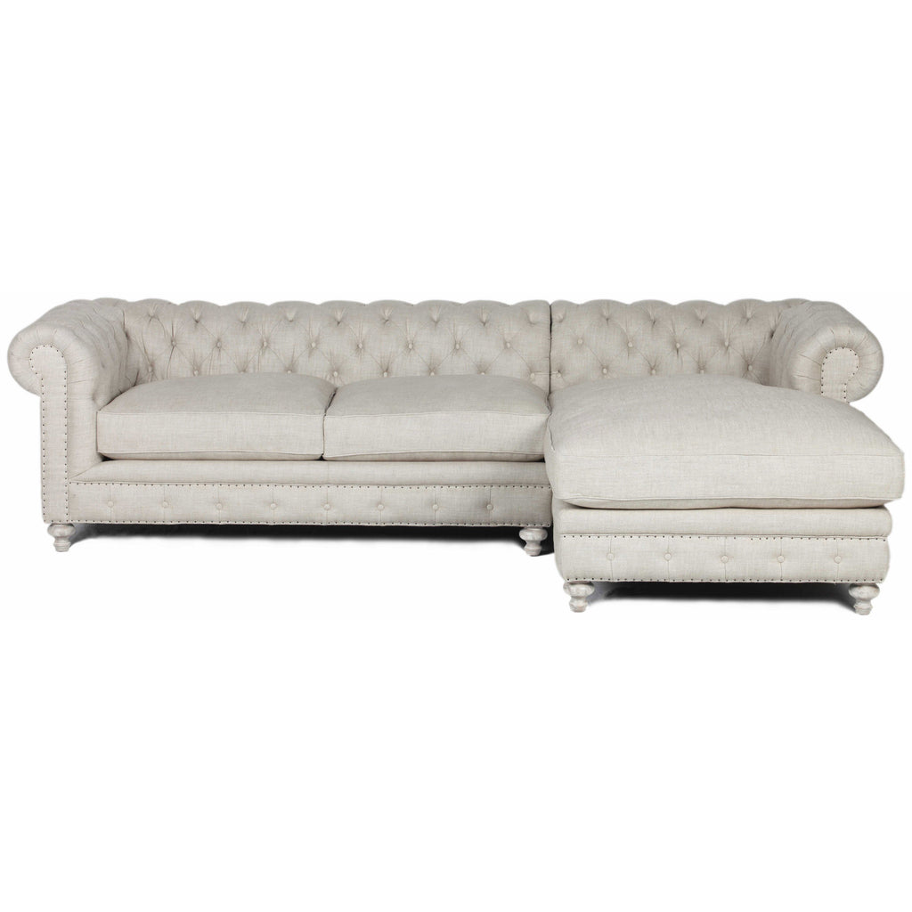 Flint Upholstered Beige Linen Sofa with Left Arm Chaise