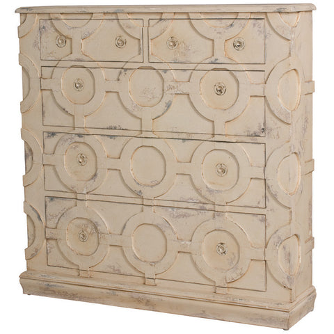 French Country Carved Tall Wall Chest