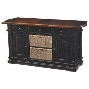 French Country Kitchen Island with Baskets