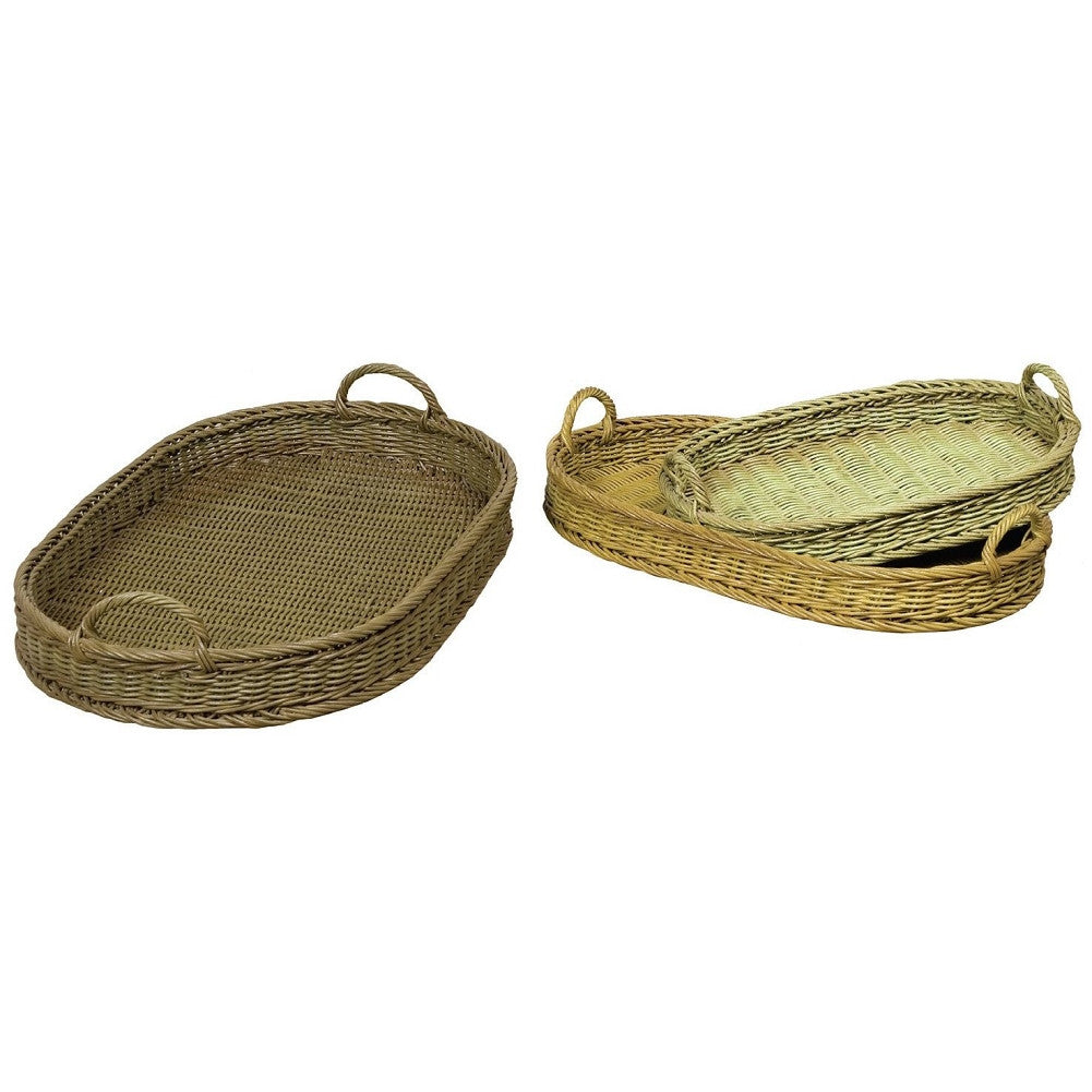 French Oval Rattan Trays Collection