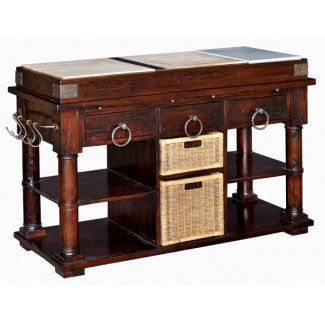 Multifunctional Kitchen Island with Baskets
