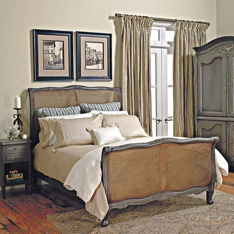 Old Biscayne Louis XV French Wood Bed with Cane