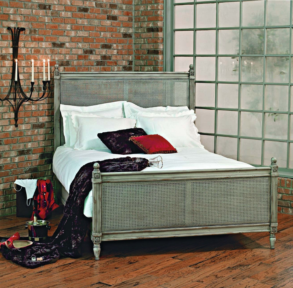 Old Biscayne Margeaux French Wood Bed with Cane