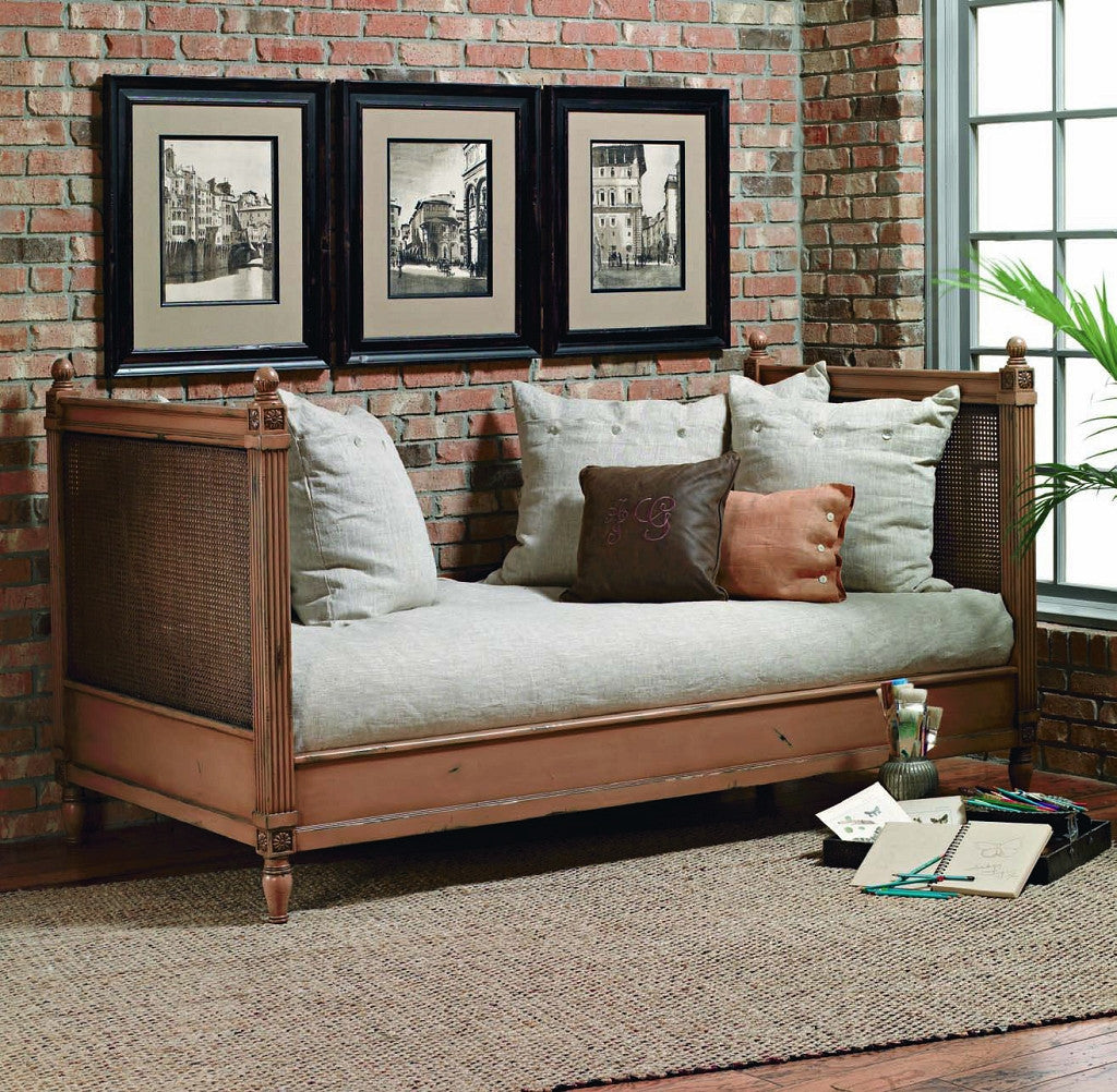 Delightful Old Biscayne Margeaux Wood Daybed With Cane