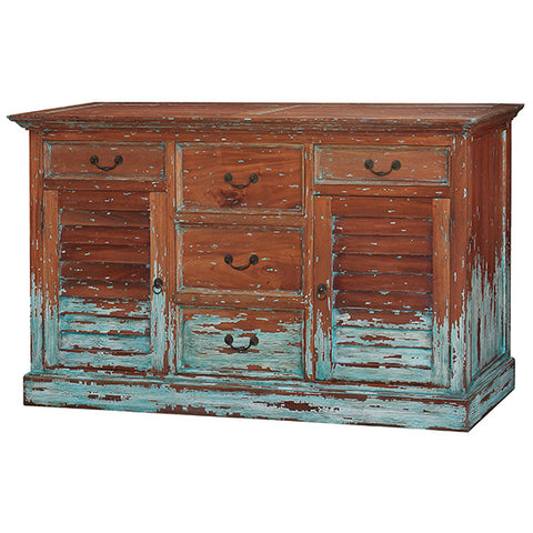 Painted Distressed Finish Shutter Chest with 5 Drawers