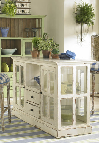 Painted Wood and Glass Kitchen Island