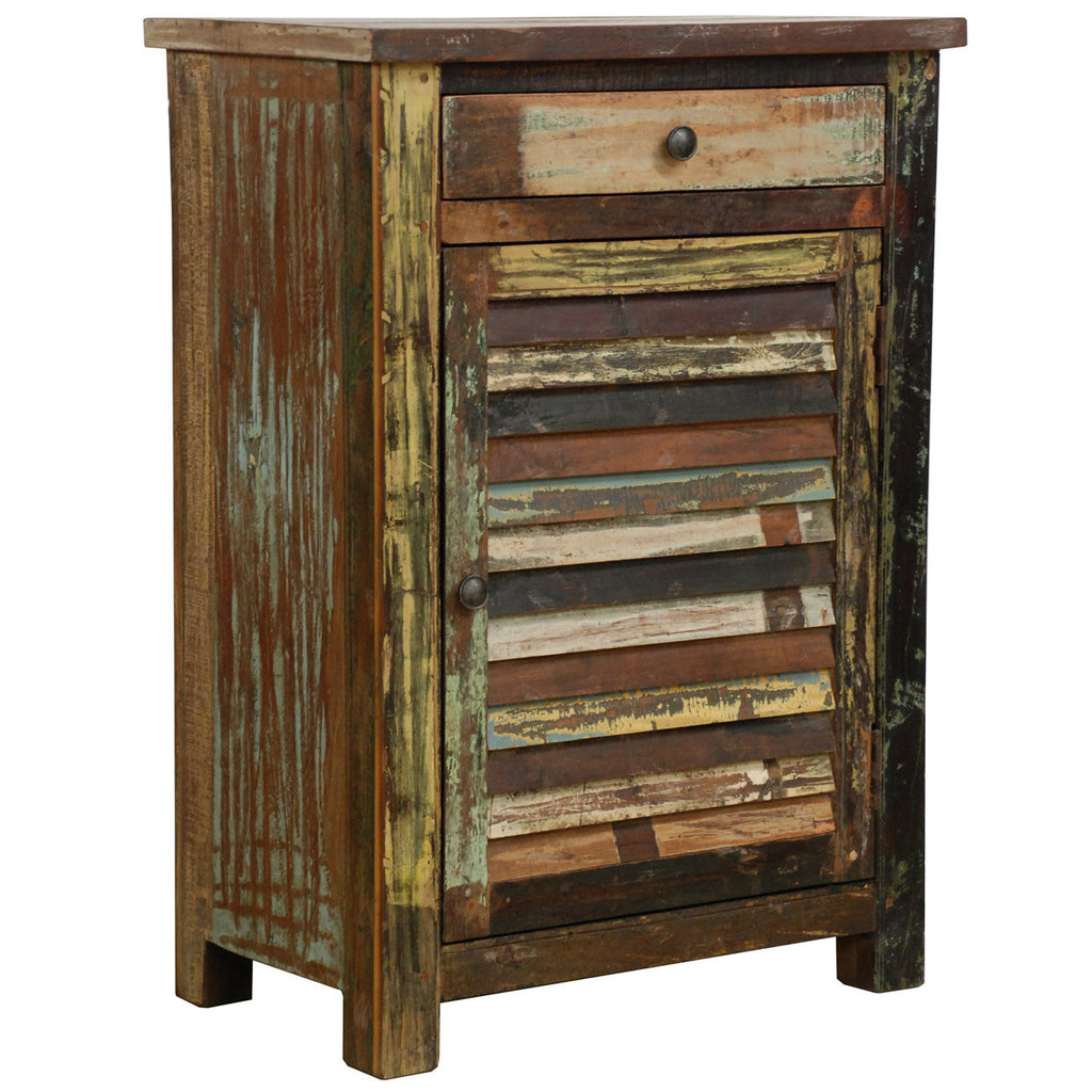 Reclaimed Combination 1 Drawer 1 Door Cabinet Multi Color