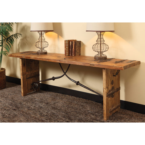 Reclaimed Wood Console Table with Iron