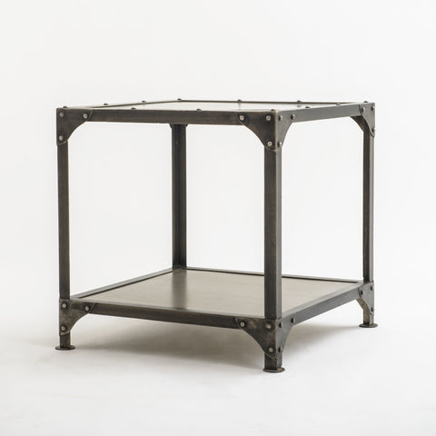 Square Metal End Table with Shelf