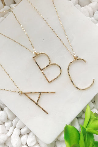 Gold initial necklace for women, Letter necklace, initial pendant, personalized necklaces from Online Jewelry Boutique Ellison + Young