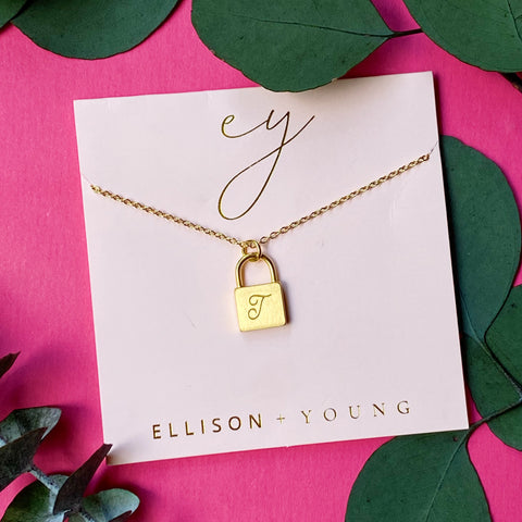 Scripted Notes Locket Initial Necklace