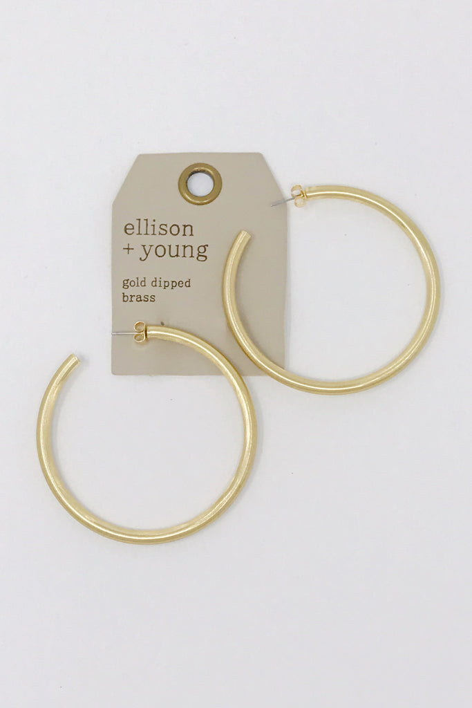 Jade Satin Gold Hoops, Gold