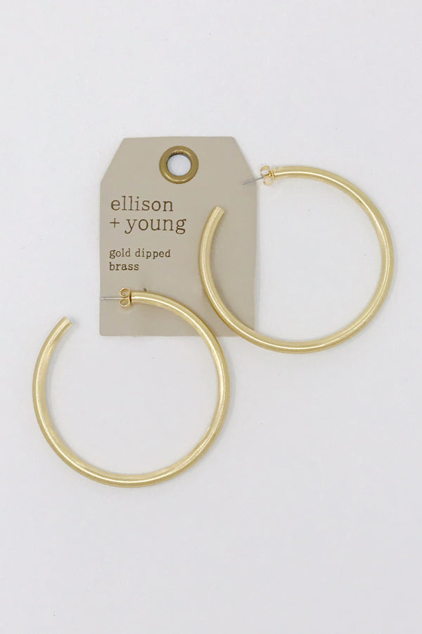 Jade Satin Hoops, Gold