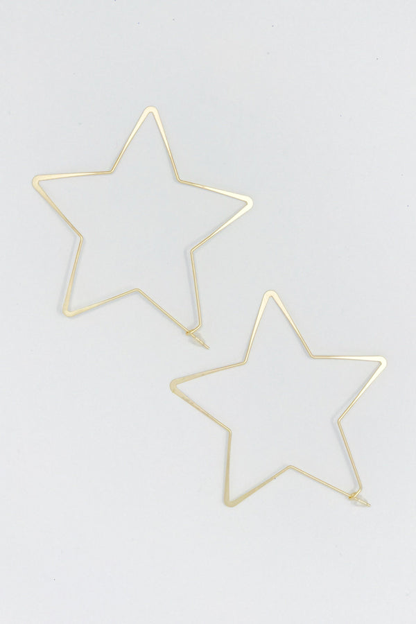 Twinkling Star Hoop Earrings, Gold