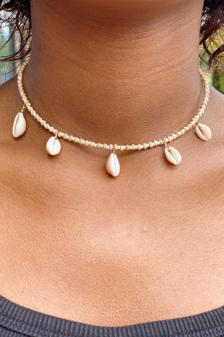 Seed/Wood Bead Shell Necklace, Cream