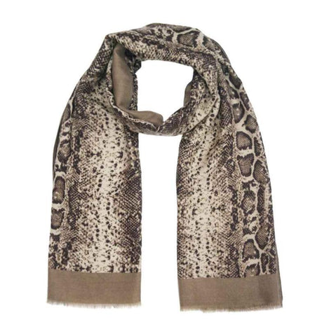taupe snake skin print scarf from online Boutique Ellison + Young