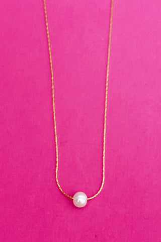 By The Water Pear Necklace, Cream