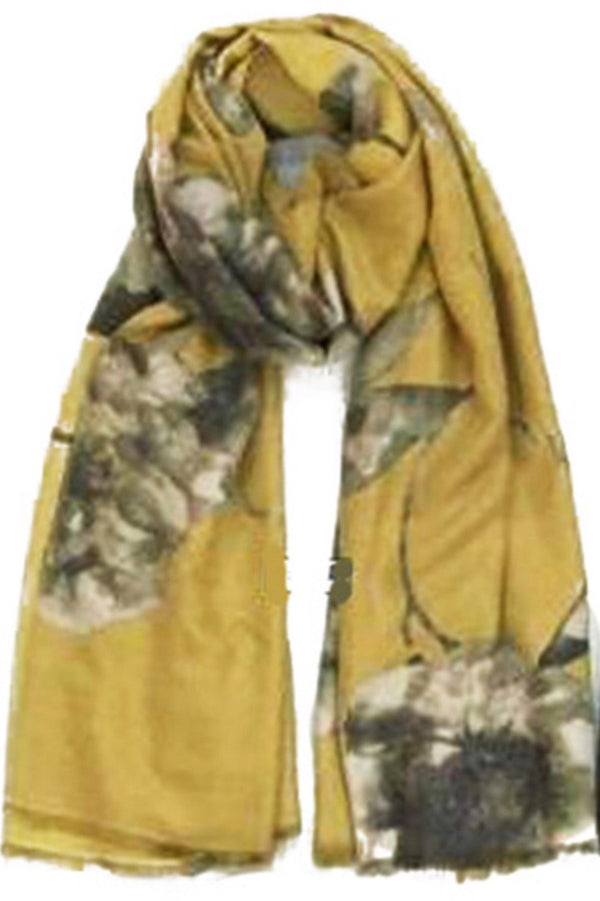 cashmere mustard yellow floral print scarf from online Boutique Ellison + Young