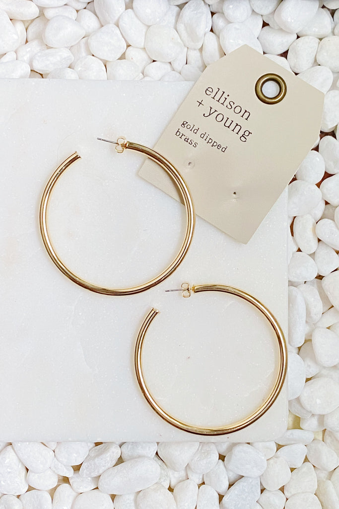 Jade Shiny Hoops, Gold