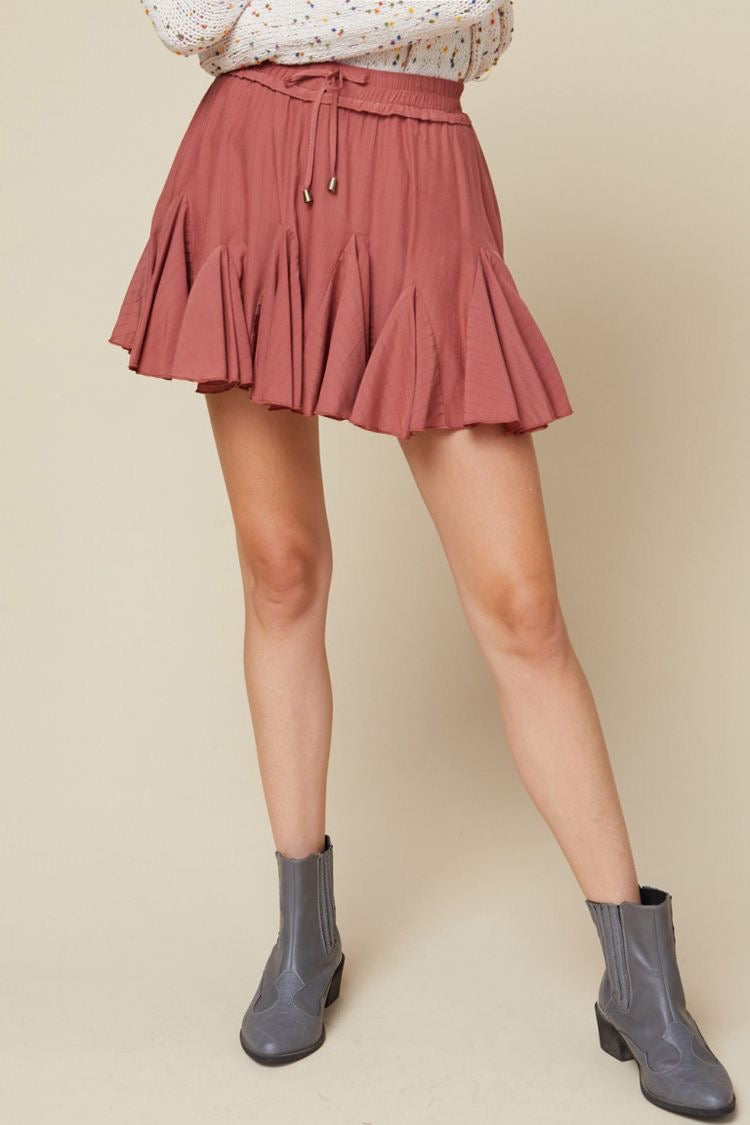 Morgan Ruffle Skirt in Terra Cotta