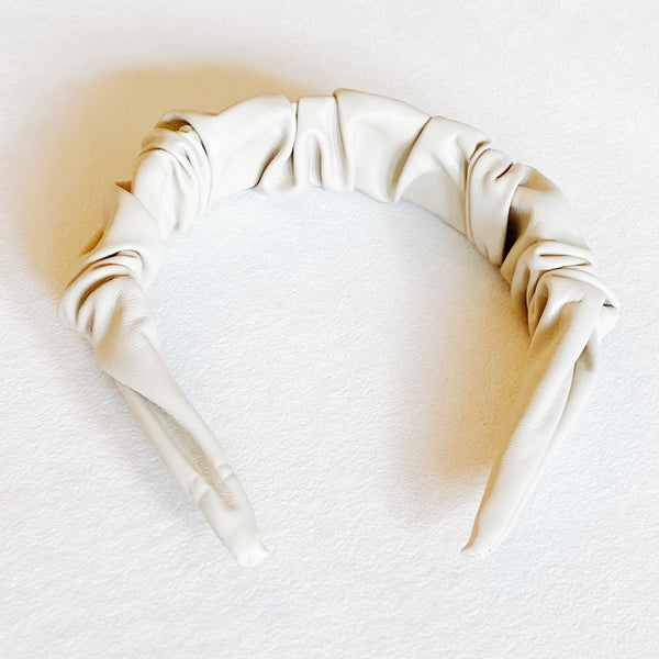 Scrunched Vegan Leather Headband, Cream