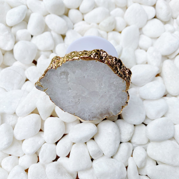 Beauty of Nature Stone Phone Grip in the color white druzy.