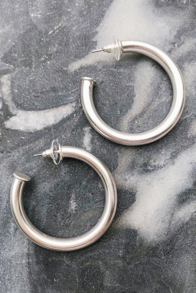 Upper Class Taste Hoop Earrings, Small Silver
