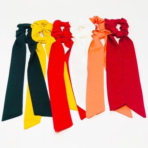 Trendy hair scrunchies from online clothing Boutique Ellison + Young make the perfect hair accessory