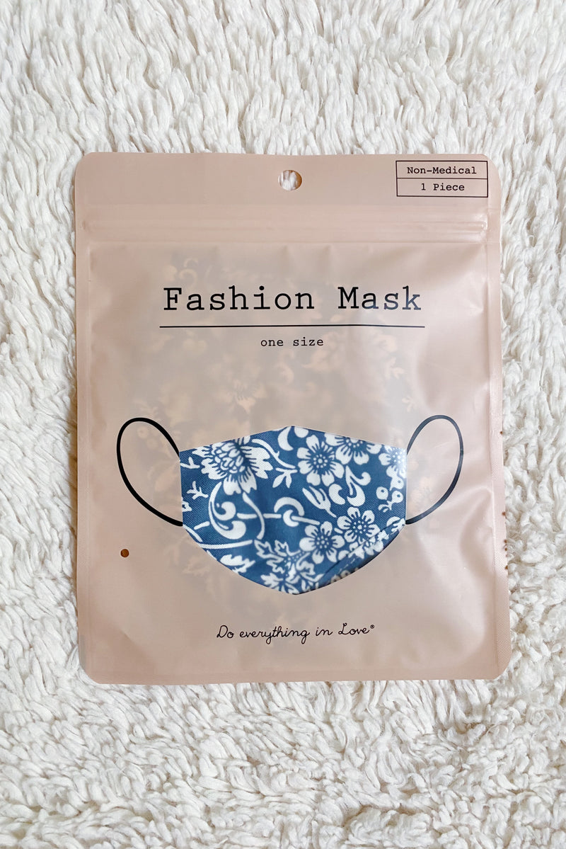 Floral Fabric Mask in Navy