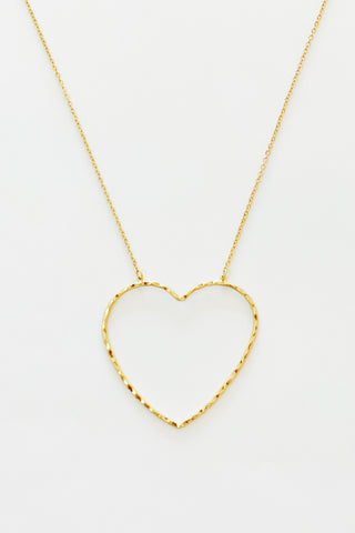 Big Heart to Love, Gold necklace shown on a white background.
