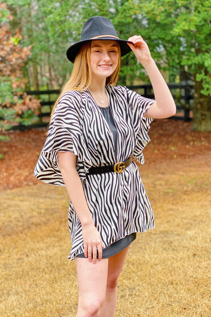 Born So Wild Kimono in Ivory Black