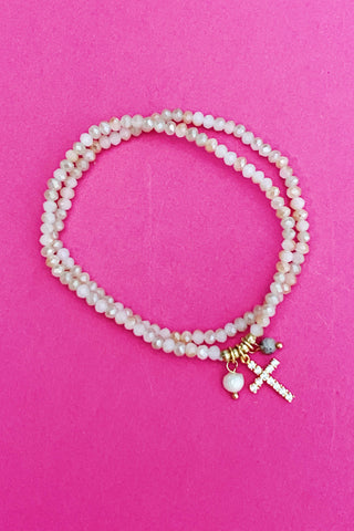 Stone and Cross Bracelet, Natural