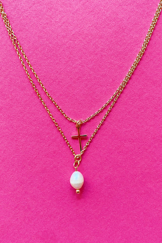 Pearl & Cross Layered Necklace