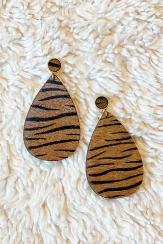 Party Animal Earrings, Zebra Brown